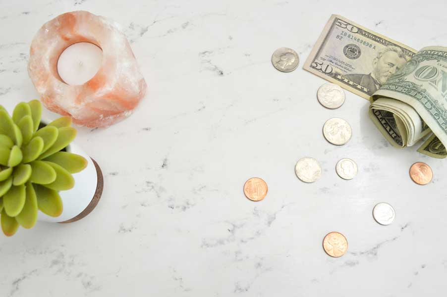 Cash and change on a counter top